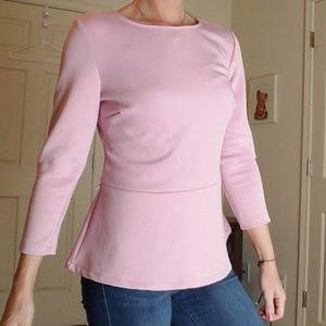 New York & Company Pink Peplum Shirt